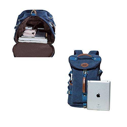 YAAGLE Canvas Rucksack Reisetasche Freizeit Schultertasche Rucksack Retrotasche Eimer-Tasche Schultasche-schwarz schwarz