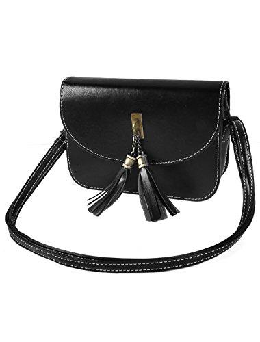 sourcingmap® Frauen Tassel PU Leder Handtasche Tote Handtasche Hobo Messenger Umhängetasche (Leder Hobo Tote)
