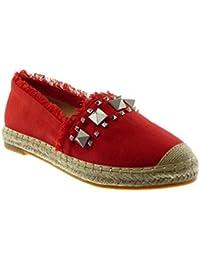 9c8020f4ab3177 Angkorly Damen Schuhe Espadrilles Sandalen - Slip-on - Nieten - Besetzt -  Ausgefranst -