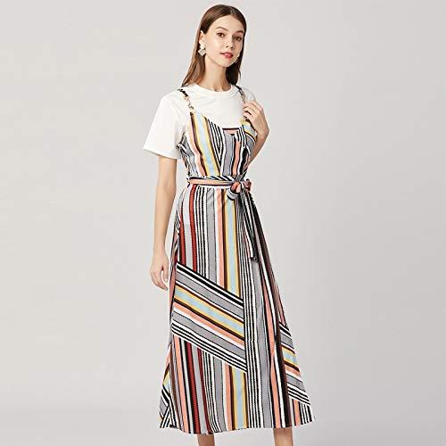 QUNLIANYI Bendkleid Tüll Lang Lässige Zwei Stück Kleid Strapless V Neck Lange Kleid Schärpen Gestreift Strap Sonnenkleid Mit Baumwolle T-Shirt L -