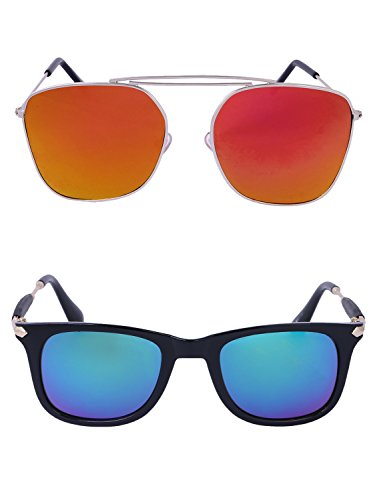 Amour-propre AmourPropre Multicolor UV Protected Unisex sunglasses Pack of 2_(AM_CMB_LP_2575)