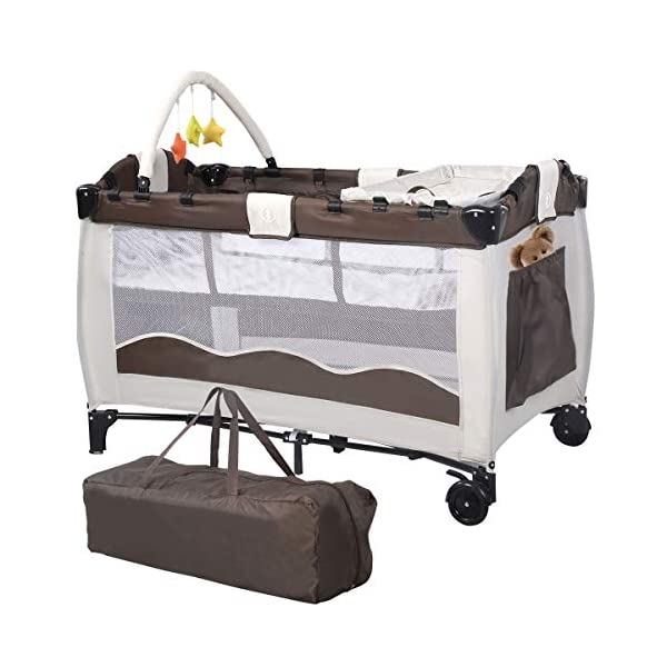 Costway Portable Infant Baby Travel Cot Bed Play Pen Child Bassinet Playpen Entryway W Mat 2 in 1 (Coffee) Costway 【Excluded locations】Guernsey, JERSEY, Channel Islands, Isle of Man, Scilly Isles, Scottish Islands, PO BOX 【Folded Design】Due to its folding design, you can take it to anywhere as you like by packing it in the supplied carry bag, and it just takes you a while to fold or unfold it before using. 【See-through safety mesh】It features mesh cloth on both sides, this netted areas allow your baby to see out clearly as well as an onlooker to see in to her/him, and it also offers great ventilation for your baby. 1