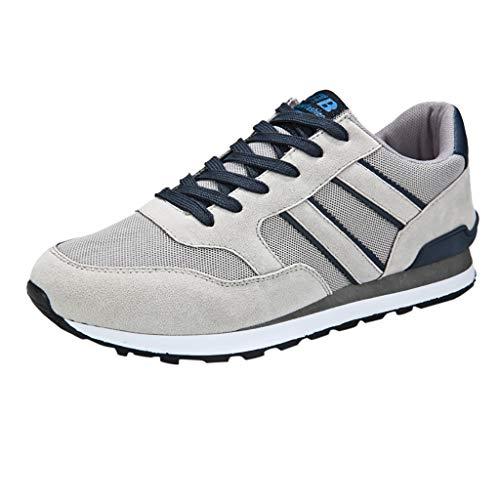 iHENGH Scarpe Sport Running Pigre Pu per Uomo Scarpa Respirante Moda Casual Ragazzo Scarpe Ginnastica Shoes Men Outdoor 2019 Lace-Up Breathable Sneakers Pelle Bianco