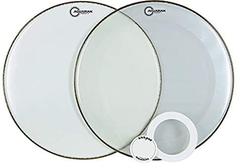 Aquarian Drumheads FFP22WH Full Force Packs 22-inch Bass Drum Head, gloss white