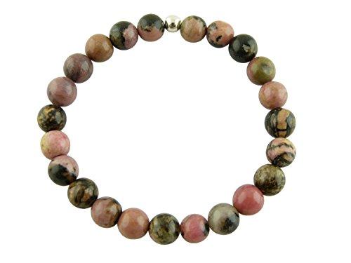 Sunsara Traumsteinshop - Power-Armband Rhodonit, Buddha-Armband, Heilstein Armband, Tikra, Arm Mala