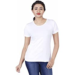 Fleximaa Women's Cotton Round Neck T-Shirt Plain White Color L Size.(rwwhite-m)