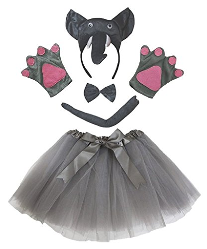 Kinder Elefanten Kostüm - Petitebelle 3D-Stirnband Bowtie Schwanz Handschuhe Tutu 5pc Mädchen-Kostüm Einheitsgröße 3D Grauer Elefant