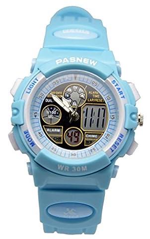 Pasnew 30m Water-proof Digital-analog Boys Girls Sport Digital Watch with Alarm Stopwatch Chronograph (Child)Blue