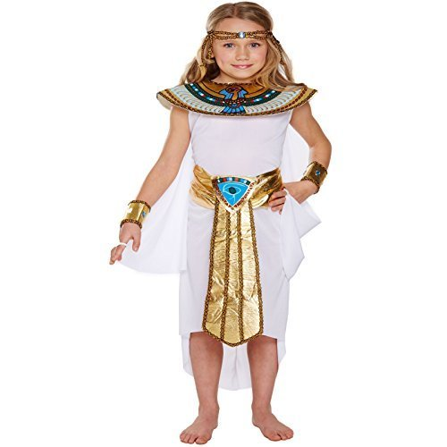 Egyptian Princess Kids Childrens Girls Cleopatra Nile Queen Fancy Dress Up Costume Halloween Book Week Outfit (10-12 years) by Egyptian (Girls Costume Golden Halloween)