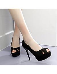 GTVERNH-Women'S Shoes/Scarpe/Donna/Tacco Summer Nuda Di Colore Bocca Di Pesce Uno Spessore Di Dodici Centimetri Di…