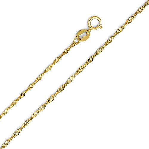 Chaîne maille Singapour en or jaune 14 carats, largeur 1mm, longueur au choix
