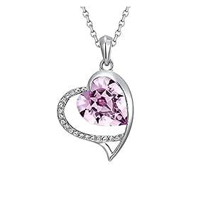 Pendentif Grand Coeur en Cristal de Swarovski Elements Mauve -Blue Pearls-CRY E213 J mauve