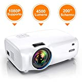 WiMiUS Videoproiettore, 4500 Lumen Mini Proiettore Portatile Nativa 1280*720P Suppoto 1080P Full HD LED Proiettore Con 200'' Display Multimedia Proiettore per Smartphone,PC con TV/AV/VGA/USB/HDMI