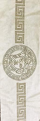 Deko-König Medusa Samt Tischdecke Tischläufer Tischdecke Crem mit goldenen Strass Steine (170x33cm