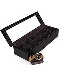 Elegante Caja para Relojes con Acabado de Cocodrilo Negro Falso con Exhibidor de Vidrio Real de