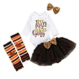 LILIGOD Baby Mädchen Langarm Strampler + Tutu Rock + Haarband + Socken Set Infant Kleinkind Thanks Giving Day Bekleidungssets 4 teiliges Set Mode Party Overall Outfits Romper