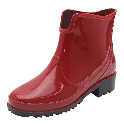 Damen Kurz Regenstiefel, LeeMon Regen Stiefel wasserdichte Knöchel Booties Elegante wasserdichte Stiefel Gummi-Stiefeletten für Frauen Geeignet für schlechte Wetter- Oder Gartenarbeit -