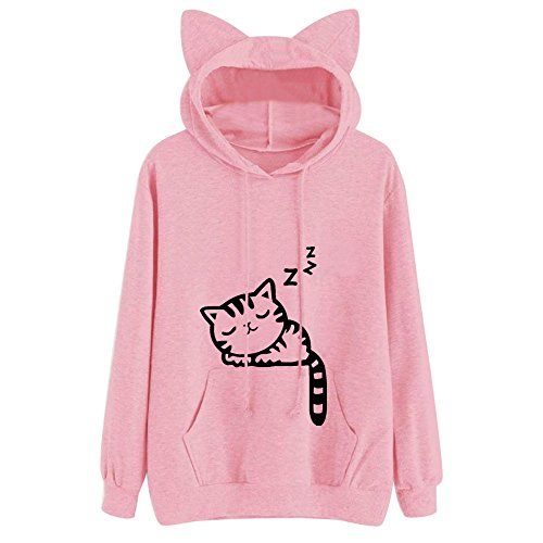 Xmiral Hoodie Pullover Damen Herbst Winter Mädchen Cat Drucken Kapuzenpullover Sweatshirt Casual Langarm Top (XL,Rosa)