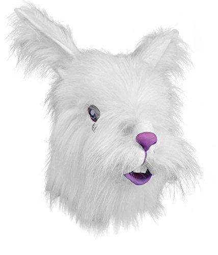 7Kaninchen Maske Plus weiß Kunstfell (One Size) (Erwachsenen White Bunny Kostüme)