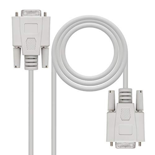NANOCABLE 10.14.0602 - Cable Serie RS232 de comunicaciones Null Modem, DB9/H-DB9/H, Hembra-Hembra, Beige, 1.8mts