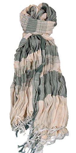 Herren und Damen Schal in Karo Muster in verschiedenen Farben mit Fransen, Grün/Beige
