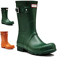 Mens Hunter Wellington Boots Original Short Rain Snow Wellies New