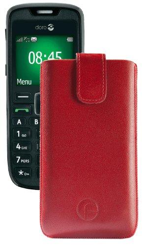 Original Favory Etui Tasche für / Doro PhoneEasy 508 / Leder Etui Handytasche Ledertasche Schutzhülle Case Hülle Lasche mit Rückzugfunktion* in Rot