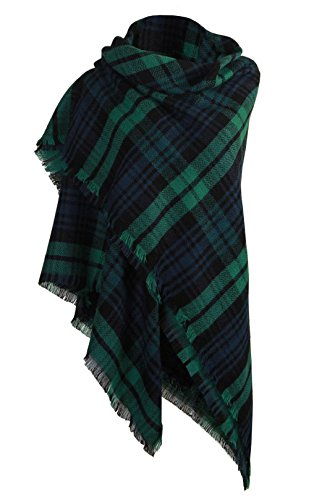 DELEY Retro Weiches Plaid Tartan Herbst Winter Schals Oversized Lange Stola Wrap Deckenschal Grün (Plaid Tartan)