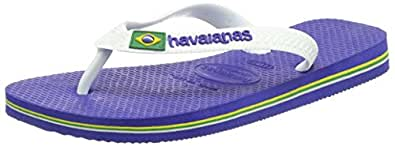 Havaianas Brasil Logo, Unisex Kids Flip Flops, Blue (Marine Blue 2711), 7 Child UK (23/24 Brazilian) (25/26 EU)