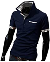 Herren Sommer Lässig Kurzarm Poloshirt T-shirt Kontrastfarbe Slim Fit