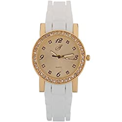 Yellow Stone l126-16-San Francisco-Ladies Watch-Analogue Quartz-White Dial-White Silicone bracelet