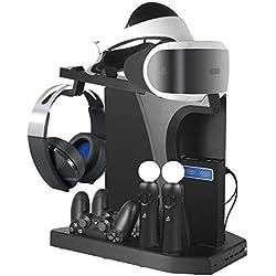 Support Vertical pour PlayStation - ElecGear PS VR Stand, Ventilateur de refroidissement, Station de Charge Controller Chargeur et USB Hub for Manette DualShock, Move Motion Contrôleur, PS4, Slim, Pro