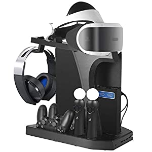 PlayStation Vertikaler Standfuß ladestation – ElecGear PSVR Headset vertikal Ständer, Lüfter Kühler, ladegerät mit VR Brille Stand, 4x USB Hub Charger für DualShock, Move Controller, PS4, Pro, Slim
