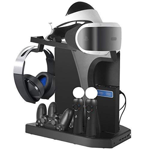 PlayStation Vertikaler Standfuß ladestation - ElecGear PSVR Headset vertikal Ständer, Lüfter Kühler, ladegerät mit VR Brille Stand, 4x USB Hub Charger für DualShock, Move Controller, PS4, Pro, Slim