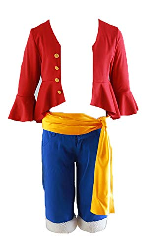 Chong Seng CHIUS Cosplay Costume Red/Blue Outfit for Straw Hat Monkey D Luffy Version 4 (Blue Monkey Kostüm)
