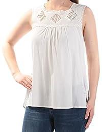 f133dd2092d1c Sanctuary Womens Ivory Sleeveless Jewel Neck Top Size  XL