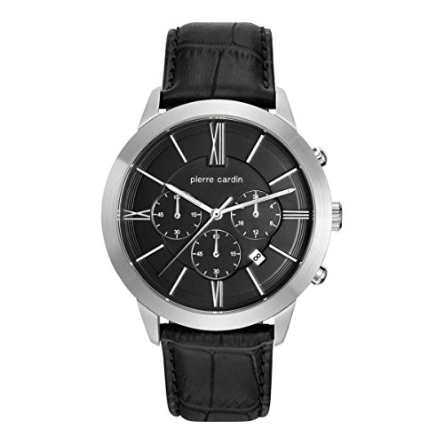 PIERRE CARDIN MEN'S 44MM LEATHER BAND STEEL CASE QUARTZ WATCH PC105891F10
