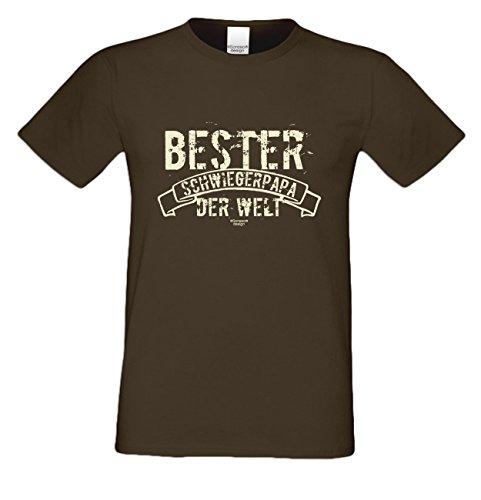 Bester Schwiegerpapa der Welt :: Herren T-Shirt inkl. Urkunde : Bleibende Geschenkidee Vatertag Vatertagsgeschenk :: Geschenk-Set -- Übergrößen bis 5XL Farbe: braun Braun