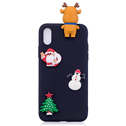 Cover iPhone X Spiritsun Case iPhone X Custodia Silicone Moda Ultraslim Soft TPU Case 3D Diy Handy Kawaii Christmas Cover Souple Flessibile Phone Case Per iPhone X/10(5.8 Pollici) - Cappello di Natale Santa Clause 3