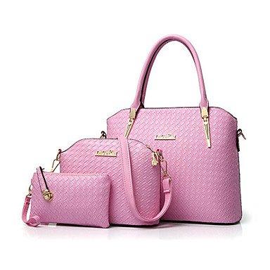 Le donne le borsette in cuoio donne borsa Messenger Bag Ladies Brand Design famosa borsa borse borsa HandbagPurseMessenger 3 Set,Nero Red