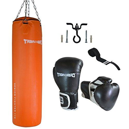 TrainHard Boxset: Boxsack 110cm lang 33kg + Boxhandschuhe 14OZ + Bandage + Deckenhalter