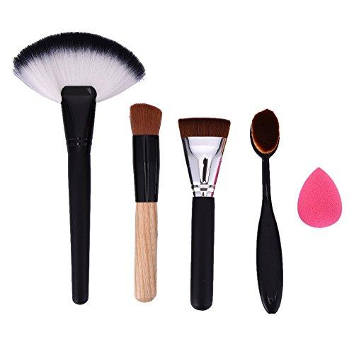 LianLe®5pcs Kit de Pinceau maquillage Professionnel Ombre à Paupière Argenté Blush Fondation Pinceau Poudre Fond de teint Anti-cerne Kit Pinceaux