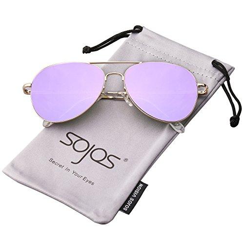 SOJOS Mode Flieger Metallrahmen Verspiegelt Linse Unisex Piloten Sonnenbrille mit Frühlings Scharnieren SJ1030 mit Gold Rahmen/Lila Linse