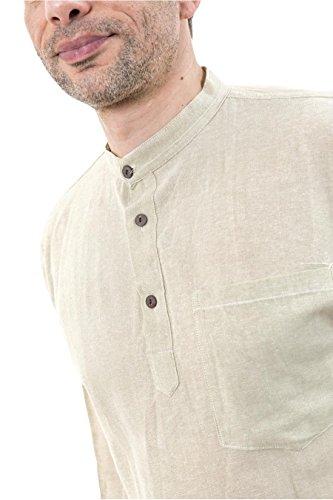 Fantazia nepalais Hemd Baumwolle 3-Tasten, 1-fach Mehrfarbig - Beige