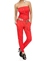 Laeticia Dreams Damen Jumpsuit Overall Bustier Sommer Lang S M L XL