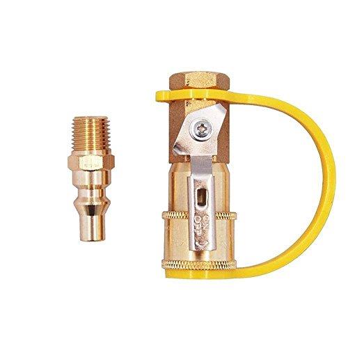 Hifuture 1/10,2cm Erdgas Quick Connector Kit Messing Shut Off Ventil und Full Flow Plug Einfach zu installieren Erdgas und Propan Adapter für Niederdruck Propan/Gas Systemen -