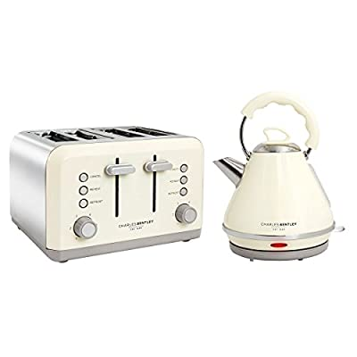 Charles Bentley 3Kw 1.7 Pyramid Kettle and 4 Slice Toaster Set Made of Stainless Steel in Cream & Grey