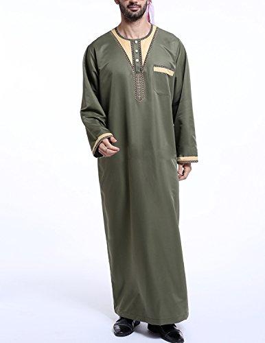 YCHENG Muslim Abaya Dubai Muslimisch Islamisch Arab Indien Türkischl Festlich Kaftan Robe Maxikleid für Männer Grün 2