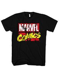 Officiellement Marchandises Sous Licence Marvel Comics Marvel Comics Retro Logo 3XL,4XL,5XL Hommes T-Shirt (Noir)