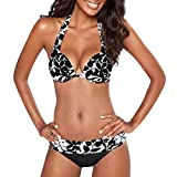 QingJiu Damen Bademode Beachwear Printed Patchwork 2 Stück Bikini Badeanzug Badeanzug(Schwarz,X-Large)